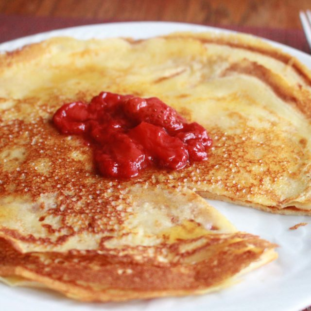 Swedish Pancakes with Strawberry Ginger Sauce