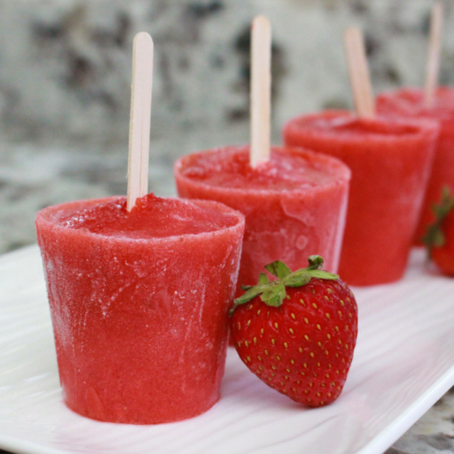 Strawberry Lemon Chia Popsicles